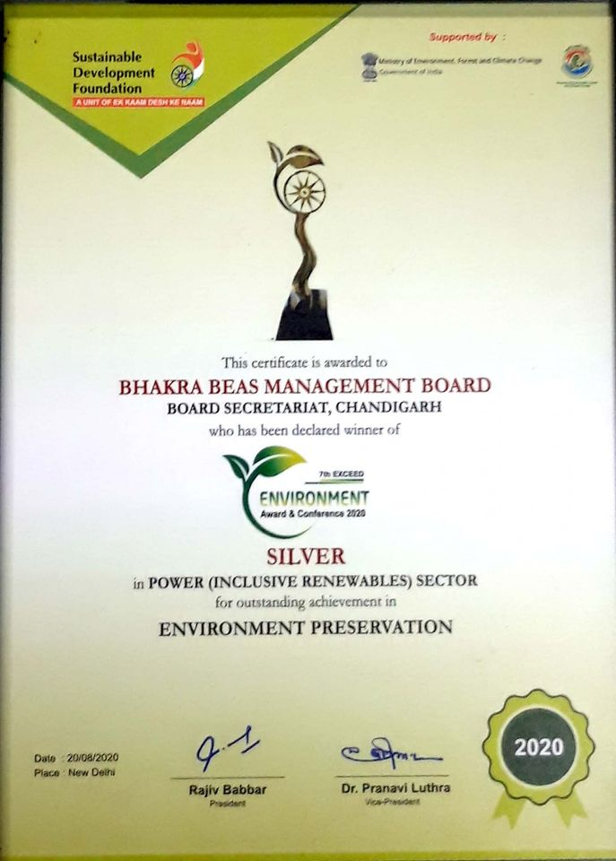 BBMB Awarded for Environmental Preservation.