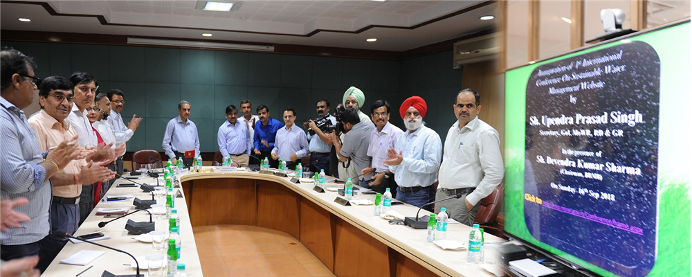 Secretary, Government of India, Ministry of Water Resources, launches Website on First International Conference at BBMB Board Sectt., Chandigarh held on 16/9/2018..