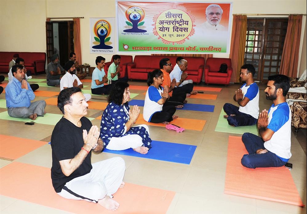बीबीएमबी द्वारा तीसरा अन्तर्राष्ट्रीय योग दिवस मनाया गया