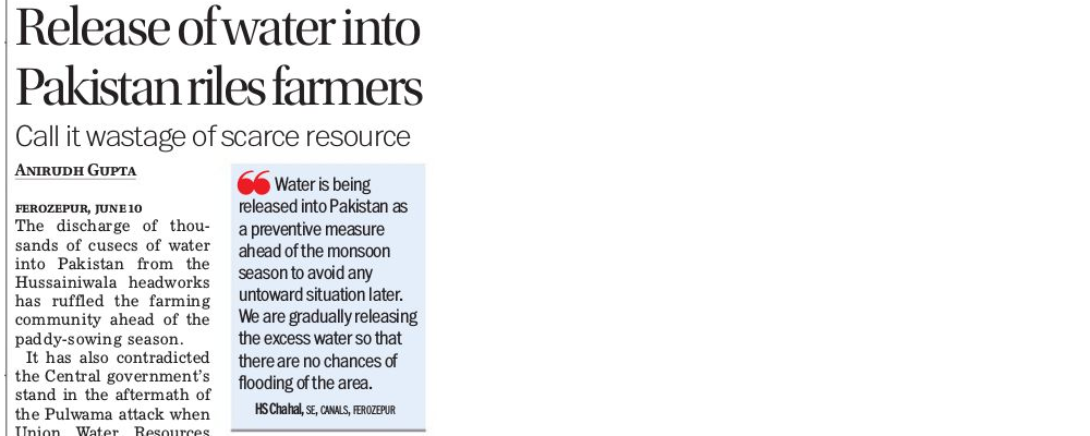 Release of water into Pakistan riles farmers